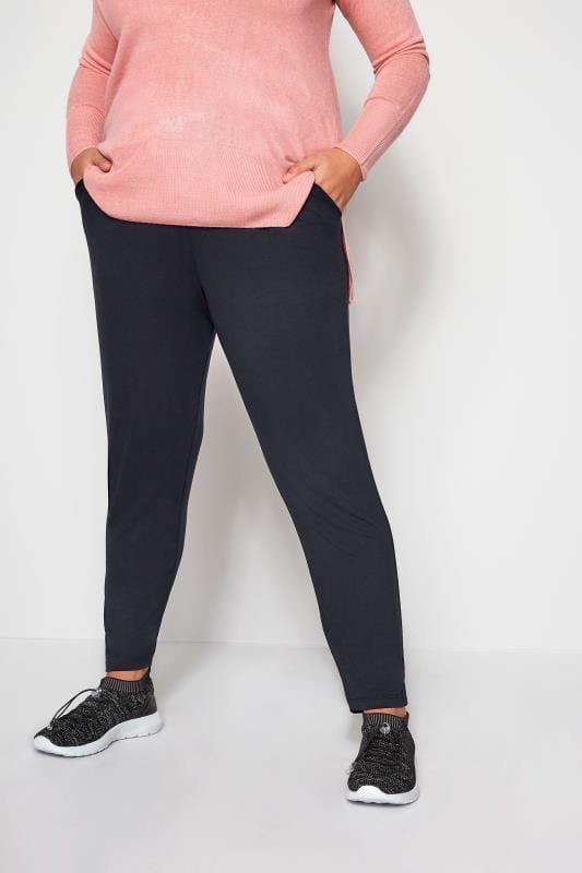 Plus Size Harem Trousers Navy Double Pleat Jersey Harem Trousers