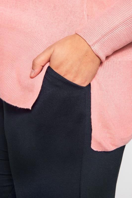 Navy Double Pleat Jersey Harem Trousers