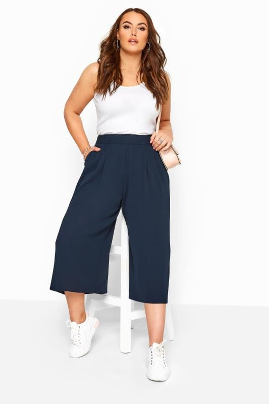 Plus Size Culottes Navy Double Pleated Culottes