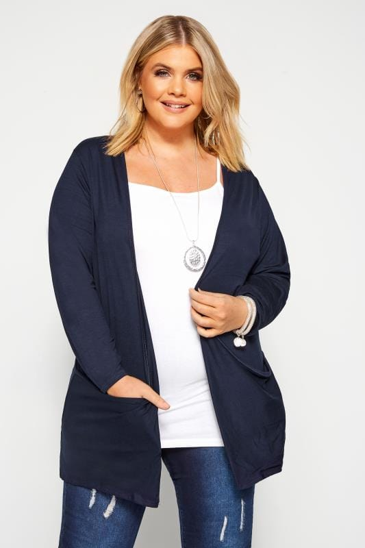 Plus Size Cardigans Navy Drop Pocket Cardigan