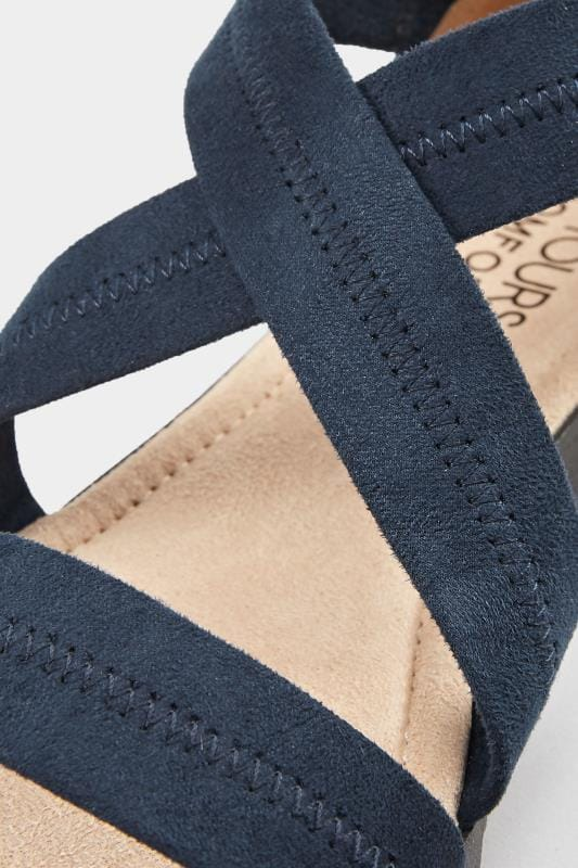 Navy Closed Back Cross Over Sandals In Extra Wide Fit