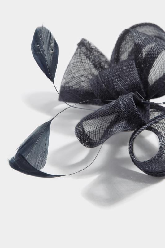 YOURS LONDON Navy Feather Bow Fascinator