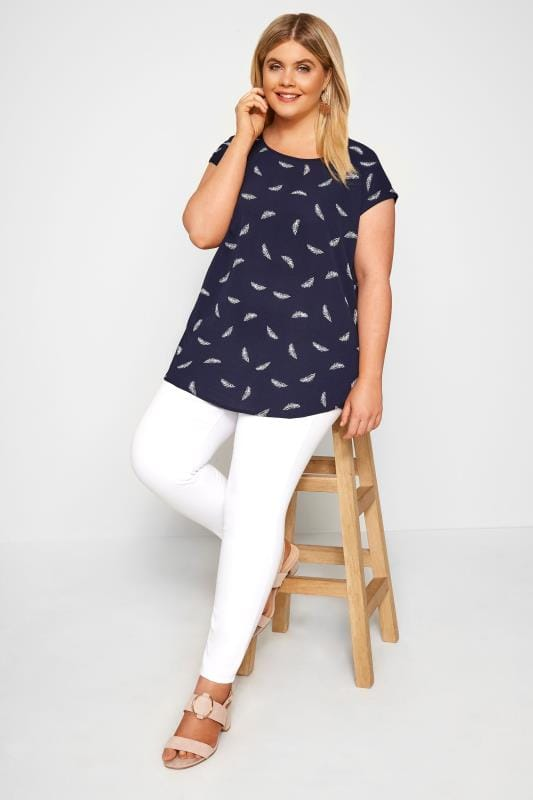 Navy Feather Shell Top