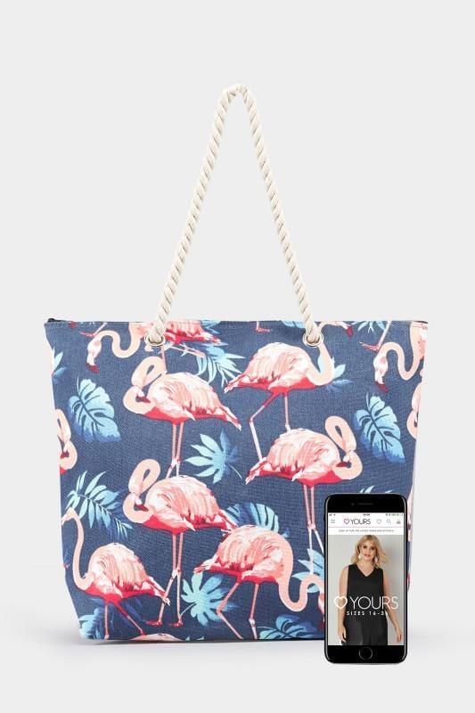 Navy Flamingo Print Beach Bag