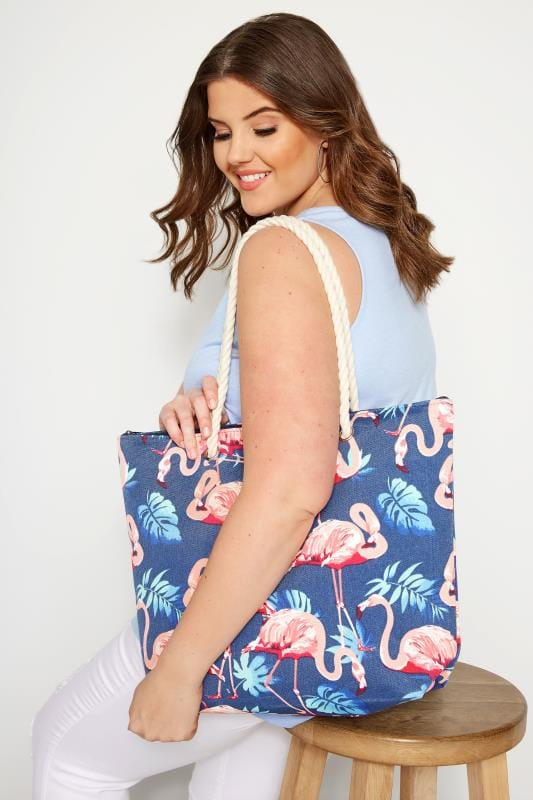 Bags & Purses Navy Flamingo Print Beach Bag