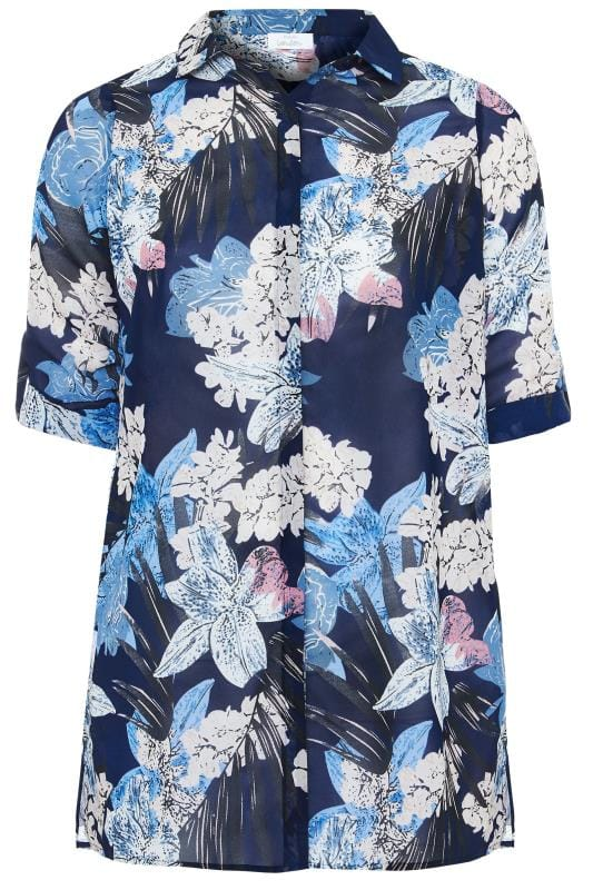 YOURS LONDON Navy Tropical Floral Chiffon Shirt