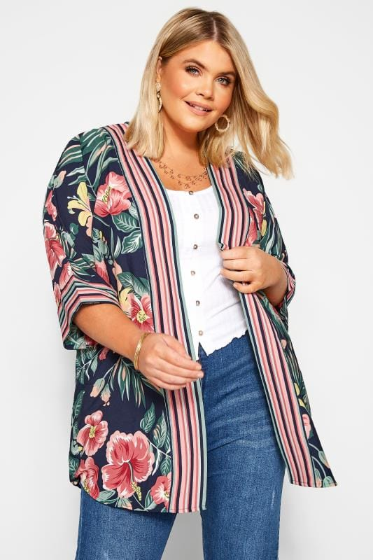 Plus Size Kimonos Navy Floral Cover Up