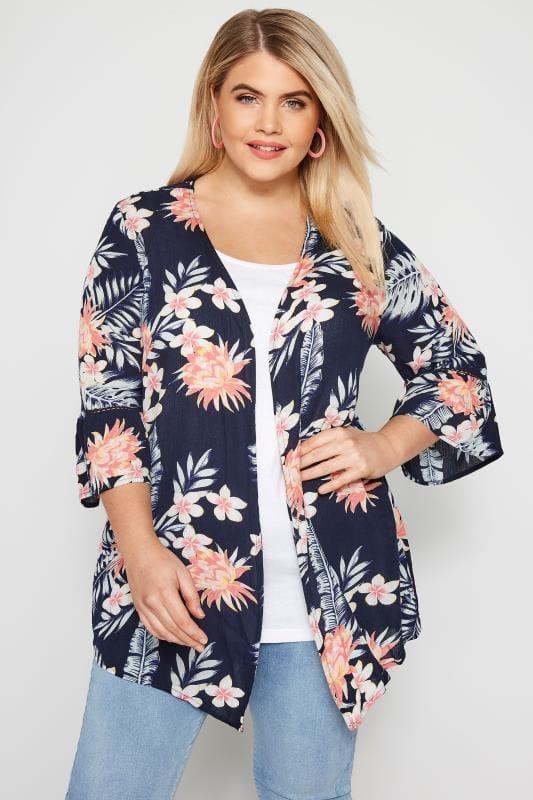 Große Größen Kimonos Jacke mit Blumenprint - Dunkelblau