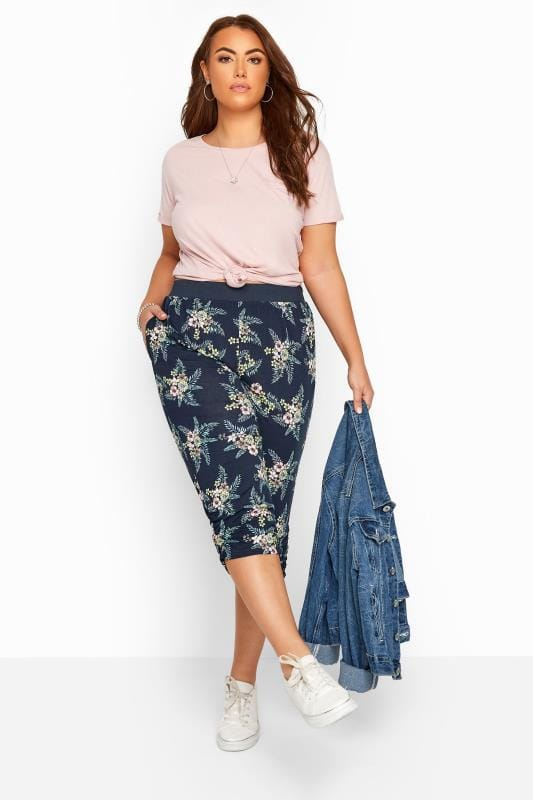 Cropped Trousers Navy Floral Cropped Harem Trousers