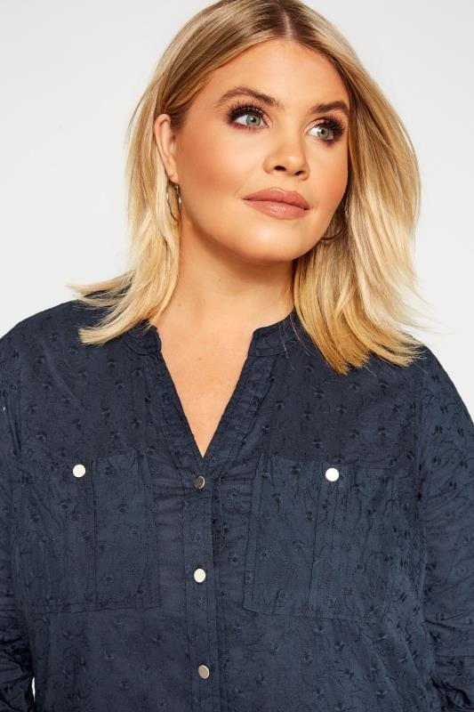 Navy Floral Embroidered Shirt