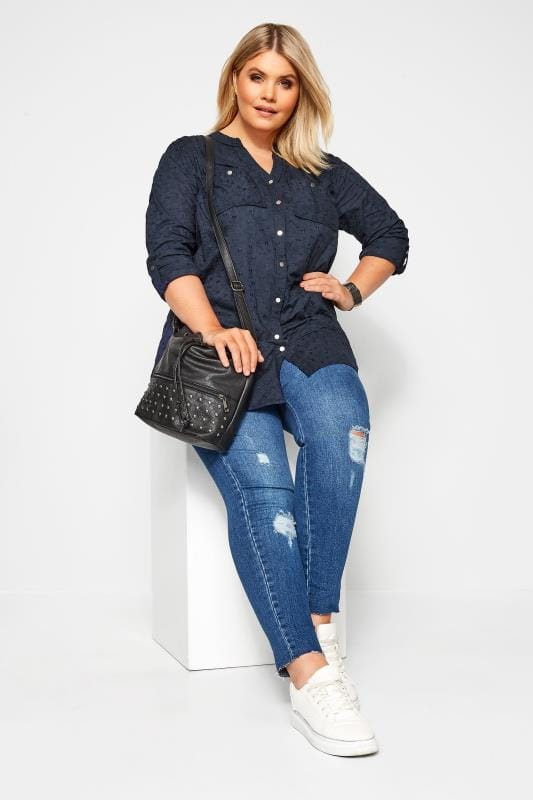 Plus Size Shirts Navy Floral Embroidered Shirt