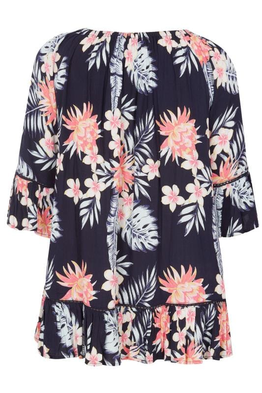 Granatowa bluzka w stylu boho z wzorem tropikalnym,duże