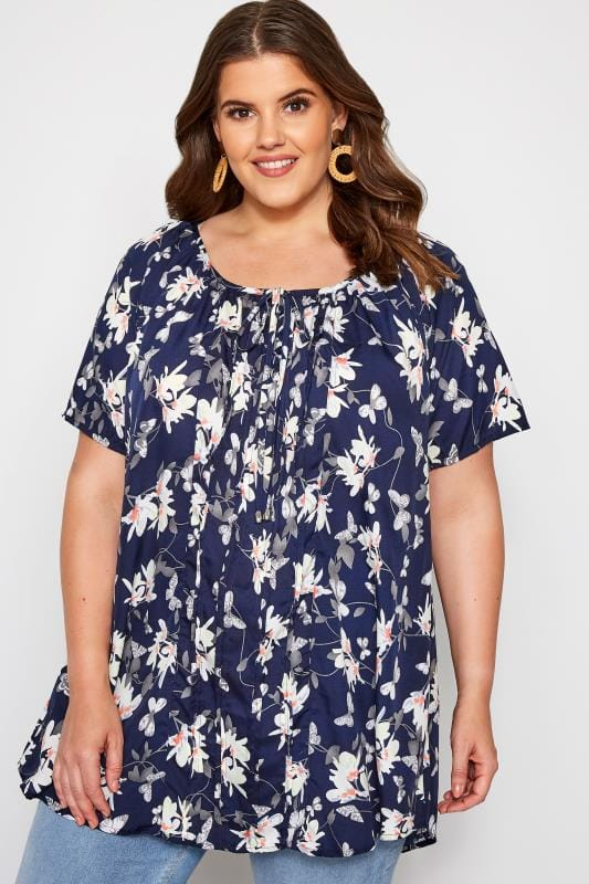 Plus-Größen Gypsy Tops Navy Floral Gypsy Top