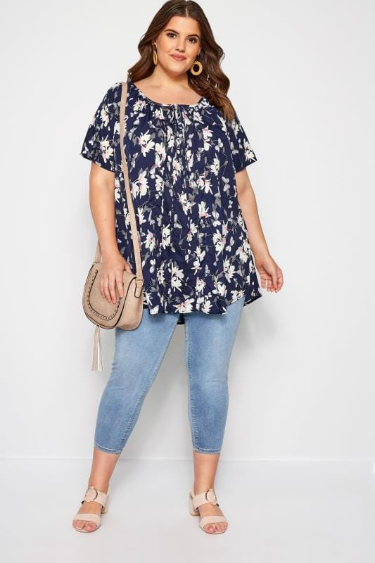 Navy Floral Gypsy Top