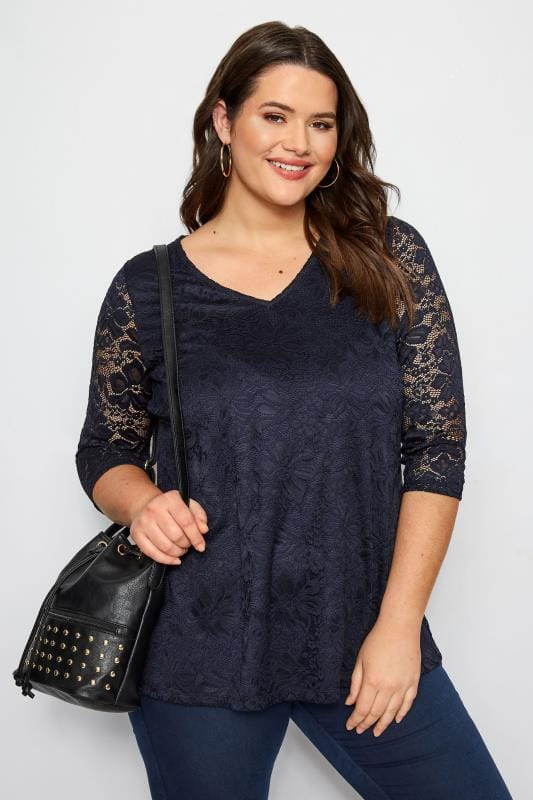 Plus Size Smart Jersey Tops Navy Floral Lace Top