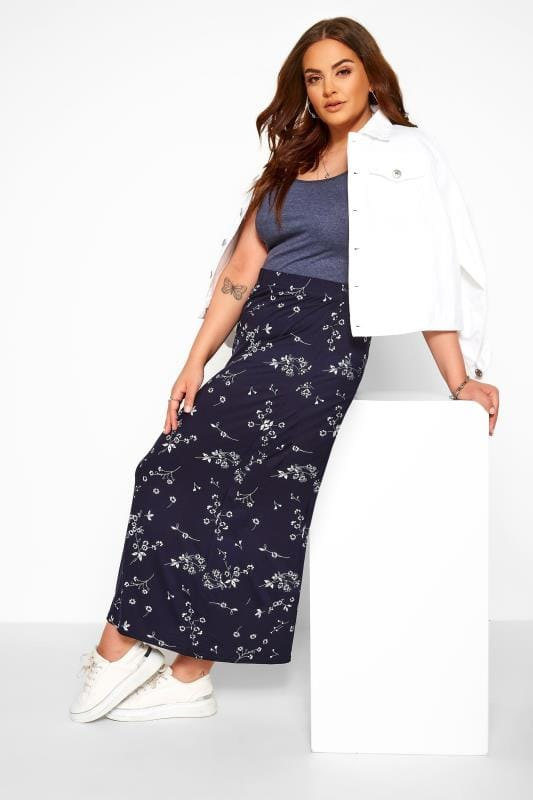 Plus-Größen Maxi Skirts Navy Floral Maxi Tube Skirt