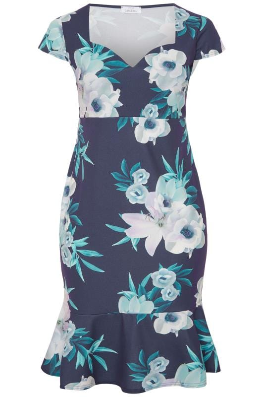 YOURS LONDON Navy Floral Fishtail Scuba Dress