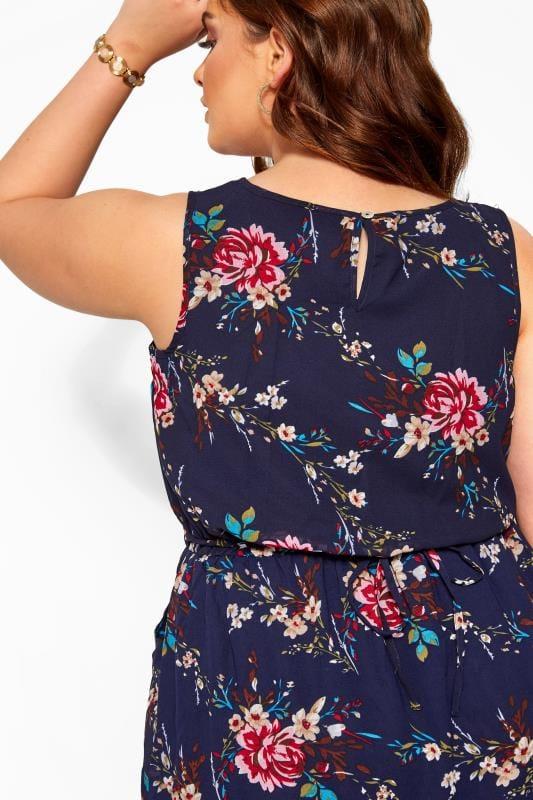 Chiffon-Kleid mit Rosen-Muster - Dunkelblau