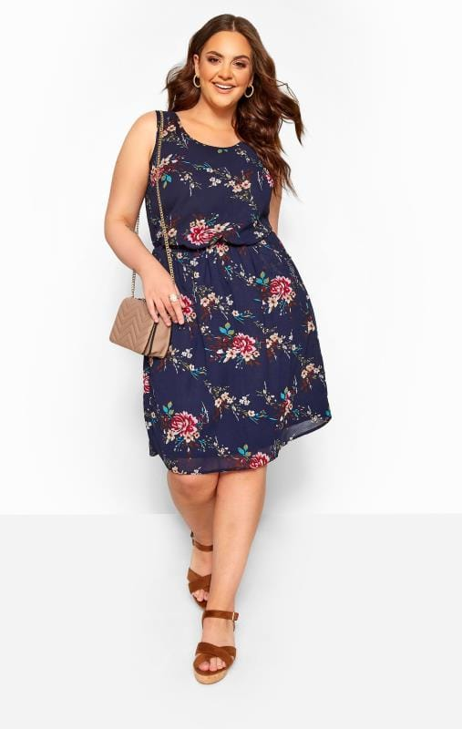 Plus-Größen Floral Dresses Navy Floral Pocket Chiffon Skater Dress