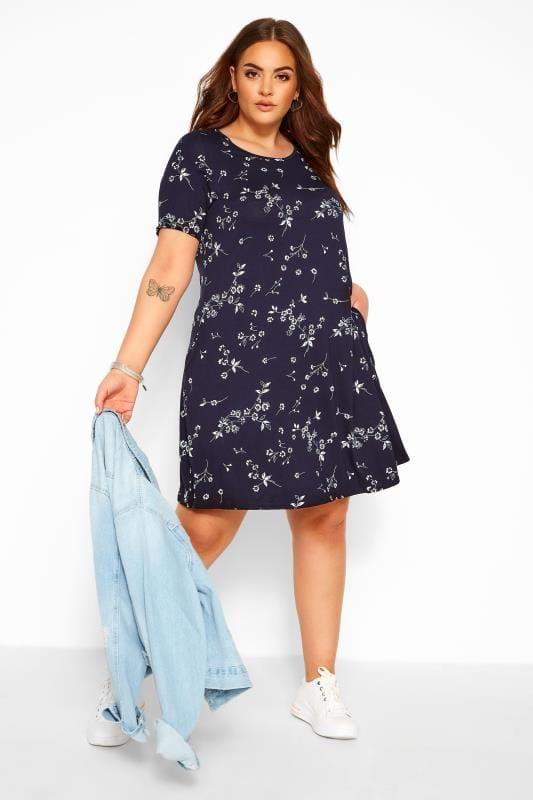Plus Size Floral Dresses Navy Floral Pocket Swing Dress