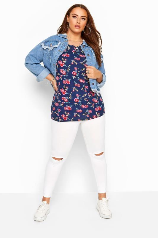 Navy Floral Pocket T-Shirt