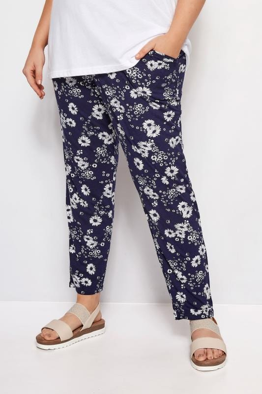 Navy Floral Print Jersey Harem Trousers