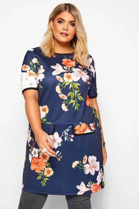 Plus Size Tunics Navy Floral Print Mock Pocket Tunic