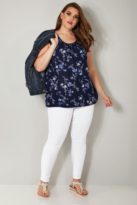 Navy Floral Print Sleeveless Bubble Hem Top With Lace Shoulders