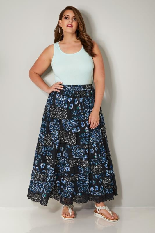 Navy Floral Print Tiered Maxi Skirt With Lace Trim Hem