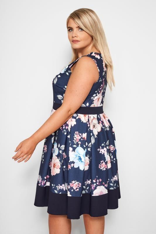 Navy Floral Skater Dress