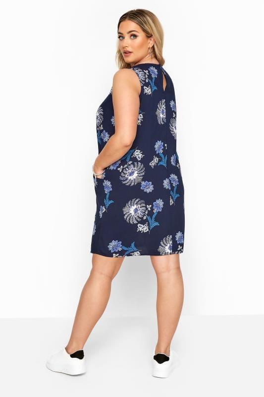 Navy Floral Sleeveless Pocket Dress