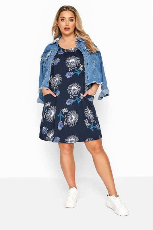 Mouwloze jurk met zakken & bloemenprint in donkerblauw
