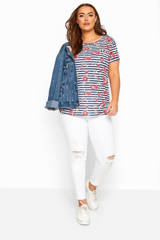Navy Floral Striped Pocket T-Shirt
