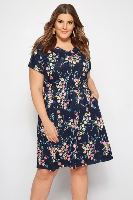 Plus Size Sleeved Dresses Navy Floral T-Shirt Dress