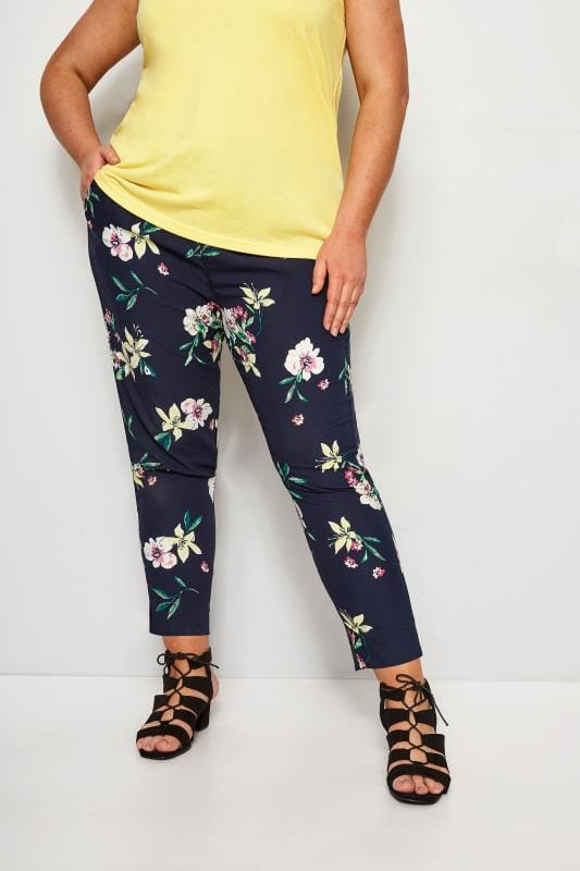 Plus Size Tapered & Slim Fit Trousers Navy Floral Tapered Trousers