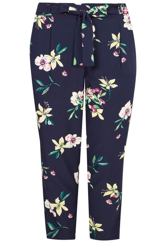 Navy Floral Tapered Trousers