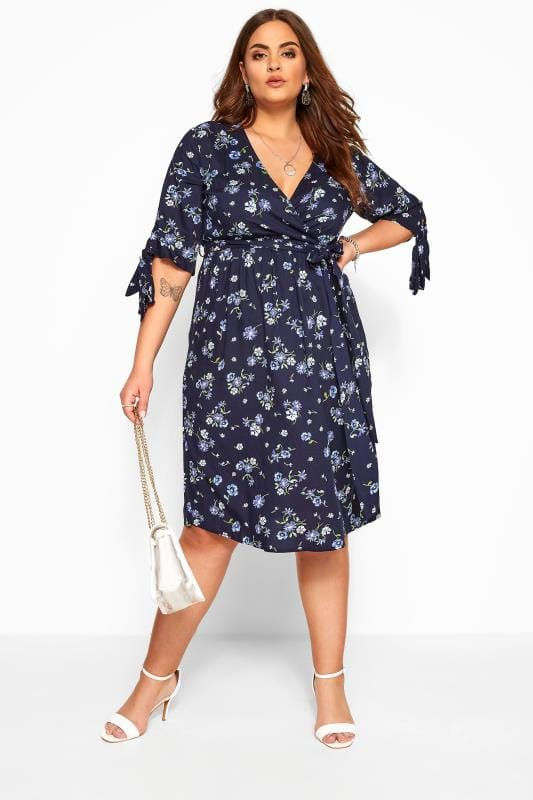 Navy Floral Tie Sleeve Wrap Dress