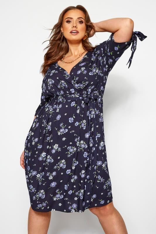 Plus Size Floral Dresses Navy Floral Tie Sleeve Wrap Dress