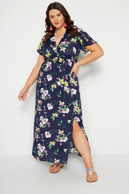 Plus Size Maxi Dresses Navy Floral Wrap Maxi Dress
