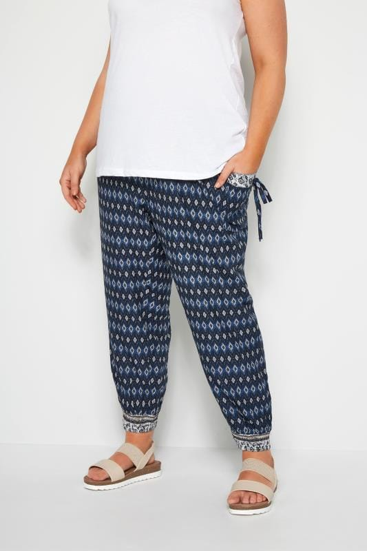 Plus Size Harem Trousers Navy Geometric Harem Trousers