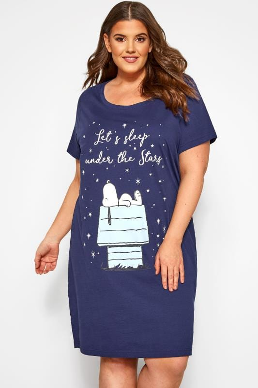 Plus Size Nightshirts Navy Glitter Slogan Snoopy Nightdress