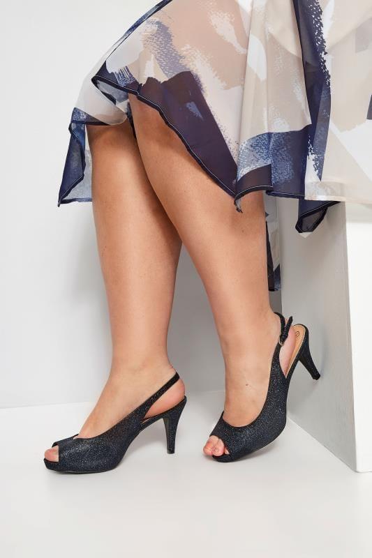 Plus Size Heels Navy Glittery Peep Toe Sling Back Heels In Extra Wide Fit