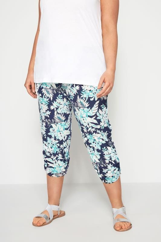 Navy & Green Tropical Cropped Harem Trousers