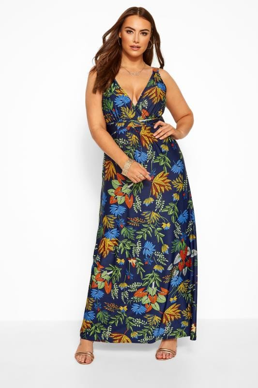 Plus Size Maxi Dresses Navy & Green Tropical Maxi Dress