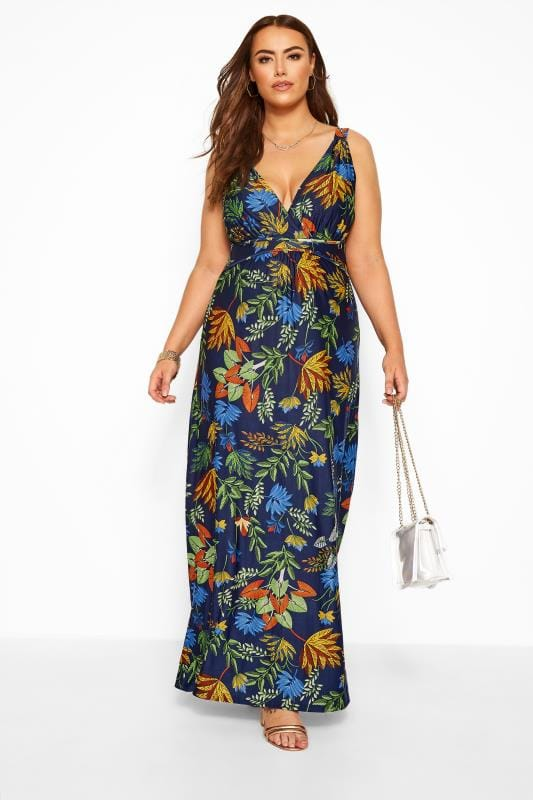 Navy & Green Tropical Maxi Dress