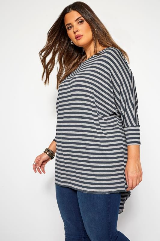 Plus Size Dipped Hem Tops Navy & Grey Stripe Extreme Dipped Hem Top