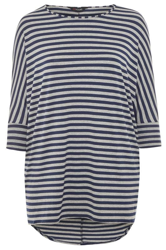 Navy & Grey Stripe Extreme Dipped Hem Top