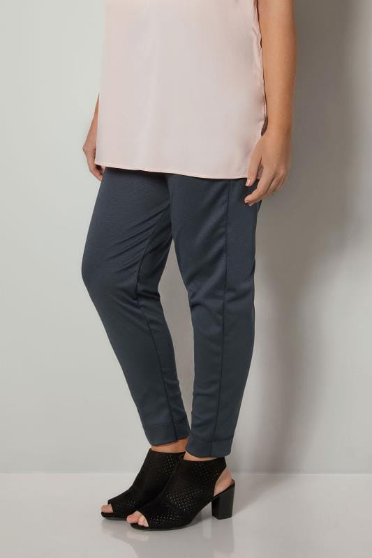 Navy Harem Trousers With Elasticated Waistband