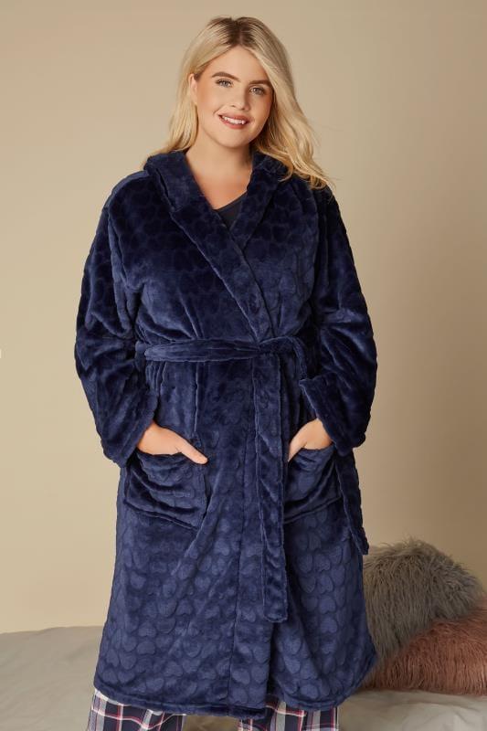 Navy Heart Fleece Dressing Gown