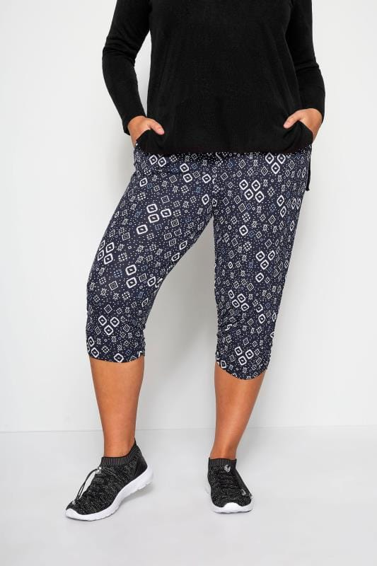 Plus Size Stretch Crops Navy Ikat Cropped Harem Trousers